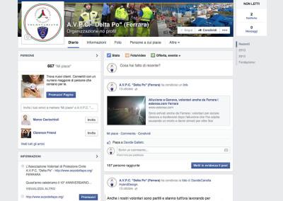 La fanpage di Facebook