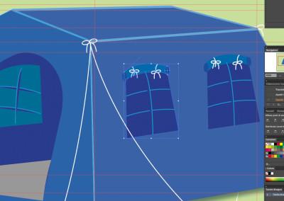 Progettazione (stilizzata) tenda P88